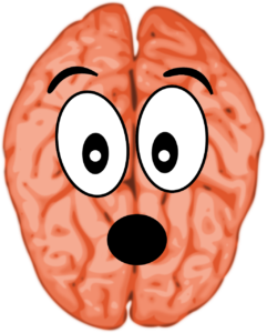 cervello con espressione sorpresa