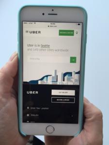 applicazione Uber a Seattle su cellulare